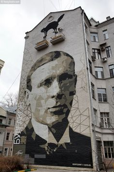 bezphoto: Graffiti in Moscow: mural «Mikhail Bulgakov» by Zu...