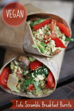 Vegan Tofu Scramble Breakfast Burrito #vegan