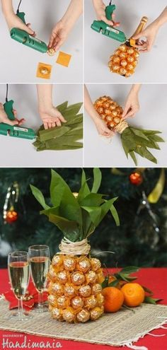 Champagne Pineapple  What you need:  Tools:  Hot glue gun   Supplies / ingredients:  2 sheets orange tissue paper 1 sheet green tissue paper 1 bottle of champagne 48 chocolates in golden wrapper Raffia ribbon