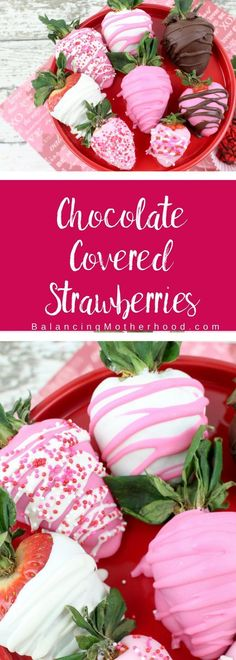 Easy to make chocolate covered strawberries with only a few ingredients. Make these with pink chocolate, dark chocolate, and white chocolate - and, of course, sprinkles! Chocolate covered strawberries couldn't be easier! Perfect for Valentine's Day. Strawberry Mousse, Strawberry Recipes, Valentine's Day Quotes, Pink Chocolate, Strawberry With Chocolate, Chocolate Sprinkles, Chocolate Gifts, Chocolate Cupcakes, Valentine Desserts