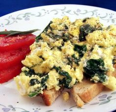 Scrambled Egg With Spinach and Feta on Toast