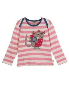 Frugi - Organic Cotton - Bobby Applique Top - Dusty Rose/Natural Stripe - Baby Gift Works  - 1