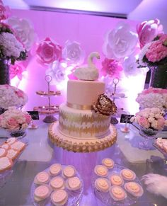 This is how Odette's Swan Princess baby Shower turned out. This cake turned out to be art by itself. Aimee Brenes