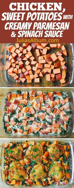 Chicken and Sweet Potatoes with Spinach in a creamy Parmesan Sauce. Healthy, gluten free dinner recipe.
