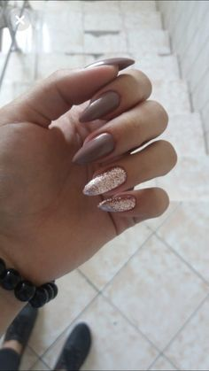 Related posts:Black nails and ringsVery long white glittered tipsAwesome manicure and golden rings Aycrlic Nails, Cute Nails, Pretty Nails, Hair And Nails, Manicure, Perfect Nails, Gorgeous Nails, Grey Matte Nails, Best Acrylic Nails