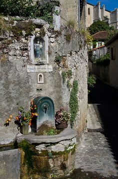 Water and Inspiration - A village water spout (non-potable) with a religious theme. Beautiful World, Beautiful Places, Belle France, Water Spout, Visit France, French Countryside, Adventure Is Out There, France Travel, Viajes