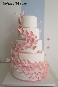 Pink butterflies wedding cake