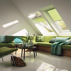Roof windows by Velux.  Highly versatile and available in an extensive range of colours, these internal roller-blinds for roof-windows filter excess light and enhance visual comfort