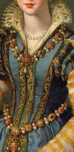 renaissance art Detail of a Portrait of Maria de Medici or Eleonora di Garzia di Toledo by Alessandro Allori. Mode Renaissance, Costume Renaissance, Renaissance Fashion, Italian Renaissance, Renaissance Portraits, Historical Costume, Historical Clothing, Portrait Photos, Portrait Paintings