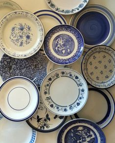 Mismatched Blue and White Salad Plates.  Florals, stripes, spatter blues and whites look perfect together!  Many patterns and shades of blue,