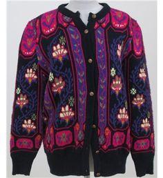 Dominique Scene Designs black multi-coloured chunky knit cardigan