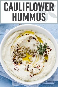 """Roasted Cauliflower Roasted Cauliflower """"Hummus"""" - This easy dip is the BEST healthy snack or appetizer. Also a great spread for tacos sandwiches and wraps. Plus it's naturally gluten-free vegan low-carb paleo keto and compliant! Cauliflower Hummus, Roasted Cauliflower, Cauliflower Recipes, Hummus Food, Healthy Hummus Recipe, Creamy Cauliflower, Vegan Hummus, Good Healthy Snacks, Healthy Appetizers"""