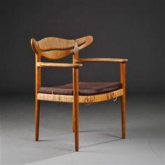 Flemming Lassen; Oak and Cane Armchair for A.J. Iversen, 1955.