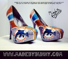 Miami Dolphins NFL Football Gitter Sports Heels with Crystal Rhinestones - Stiletto / Pumps / Shoes via Etsy