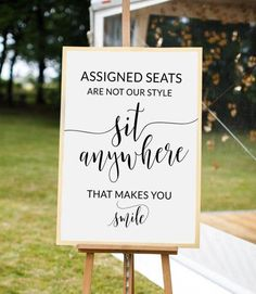 Wedding Ideas Discover Wedding seating sign Rustic wedding decor Wedding signs Assigned seats are not our Sit anywhere sign Pick a seat sign Open seating Wedding Seating Signs, Wedding Ceremony Signs, Decor Wedding, Outdoor Wedding Seating, Wedding Ceremonies, Outdoor Wedding Signs, Diy Wedding Signs, Wedding Sayings, Wedding Cakes