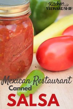 This homemade canned salsa recipe tastes just like our favorite Mexican restaurant's. It's simple and easy to do in the food processor and can be mild, medium or spicy hot! Canning low-acid foods is easy with these instructions! Salsa Canning Recipes, Canning Salsa, Simple Salsa Recipe For Canning, Hot Salsa Recipes, Canning Vegetables, Canning Tomatoes, Veggies, Homemade Canned Salsa, Canned Mild Salsa Recipe