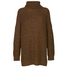 Ysabel Alpaca Blend High Neck Jumper (2,615 EGP) ❤ liked on Polyvore featuring tops, sweaters, brown top, turtleneck sweater, side slit sweater, polo neck sweater and brown turtleneck