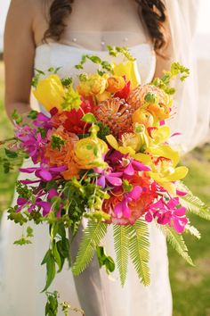"""A Vibrant Seaside Wedding"" - bright bouquet by Teresa Sena Design - Anna Kim…"