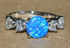 blue fire opal white topaz ring silver jewelry Sz 8 chic cocktail engagement G38 #Cocktail