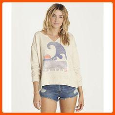 Billabong Women's Tidal Dream Pullover V-Neck Fleece Top, Oatmeal Heather, S - All about women (*Amazon Partner-Link)