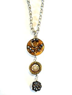 3 Button Drop Necklace - Metal & Shell   	  3 Button Drop Necklace - Metal & Shell