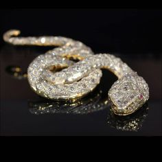Huge Antique Victorian Diamond Snake Brooch, 7+ctw c.1900