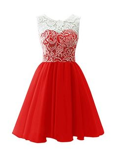 Dresstells® Scoop with Lace Short Tulle Wedding Dress, Cocktail, Party, Prom…