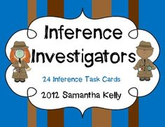 24 Adorable Detective Themed Inference Story task cards!  Great practice for using clues and schema to make inferences! 1-3 grade. $2.00