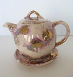 Vintage McCoy Lost Glaze Line Teapot 1940's with Saucer