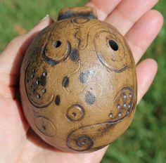 Handmade Clay Whistle Ocarina 3-note Folk Art Naive by maryanka50