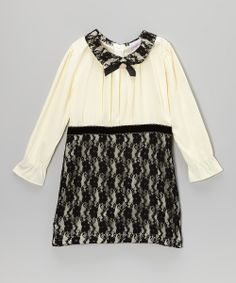 Ivory Bow Pleated Dress - Toddler & Girls