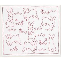 Japanese Embroidery Sashiko Bunny inspiration :) - My entire family loves rabbits, and baby bunnies HAVE to be one of the most adorable animals on the planet. Wouldn't you agree? With those big fuzzy ears and the twitch-twitch of their cute little Sashiko Embroidery, Japanese Embroidery, Hand Embroidery Patterns, Vintage Embroidery, Embroidery Stitches, Embroidery Designs, Embroidery For Beginners, Embroidery Techniques, Boro