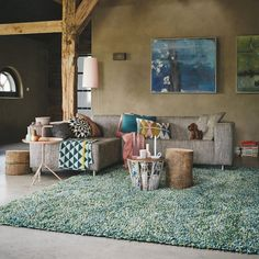 Brink and Campman Rocks Multi Shaggy Wool Rugs 70218 - Free UK Delivery - The Rug Seller Living Room Grey, Rugs In Living Room, Real Living Magazine, Teal Rug, Tapis Design, Texture Design, Modern Rugs, Interiores Design, Decoration