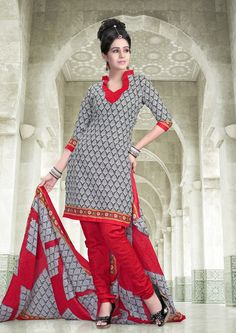 Red and black #printed #cottonsalwarkameez comes with red cotton dupatta.