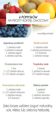 Koktajl owocowy Helathy Food, Healthy Cocktails, Good Food, Yummy Food, Dessert, Diy Food, Smoothie Recipes, Smoothies, Clean Eating Snacks
