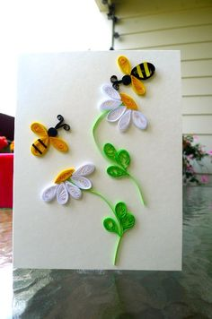'stripes' - Gorgeous Handmade Blank Quilling Card with by QuillingWithLoveItems similar to Gorgeous Handmade Blank Quilling Card with Flower and Bee on EtsyThis Pin was discovered by Emi Paper Quilling Cards, Arte Quilling, Paper Quilling Tutorial, Paper Quilling Flowers, Paper Quilling Patterns, Quilled Paper Art, Quilling Jewelry, Quilling Craft, Quilling Ideas