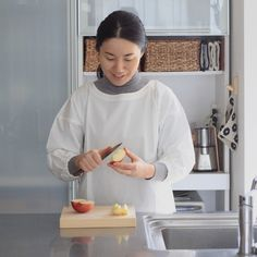 中川政七商店割烹着ショート丈かっぽうぎかっぽう着かわいいおしゃれ白グレー日本製エプロン