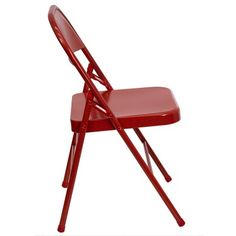 Premium Metal Folding Chair.   Red frame, 3 double riveted cross braces