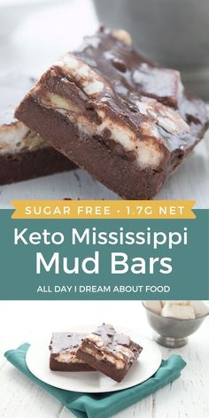 Mississippi Mud Bars go keto and sugar-free. Rich brownie crust, keto marshmallows, and boiled cocoa frosting.