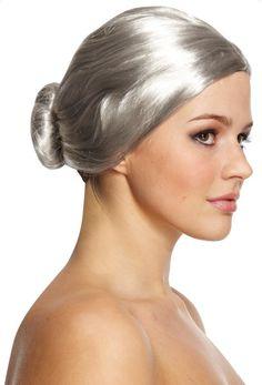 Fancy Dress Old Lady Grey Bun Wig