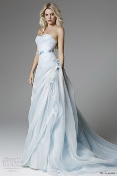 blumarine 2013 bridal light blue wedding dress strapless flange skirt. *Ooh...! I haven't thought of a blue wedding dress. I really like this. Even though I don't really like blue. -adri*