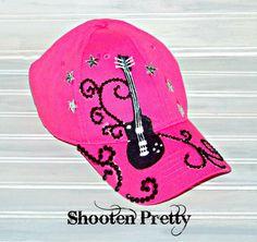 Pink guitar rock star baseball hat by ShootenPretty on Etsy