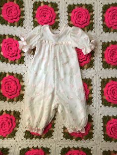 Pink Rose Romper 6-9 Months by lishyloo on Etsy
