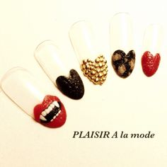 Halloween Halloweennails painting lip heart studs ネイル ハロウィンネイル くちびる♪ #nailbook