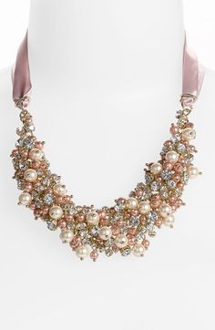 Gorgeous cluster bib with crystals & pearls
