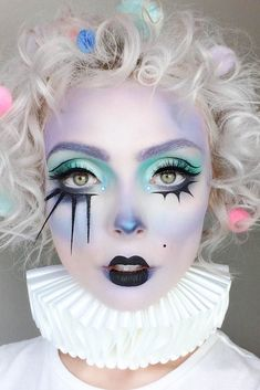 Halloween Makeup Ideas: Pastel Clown Makeup for Halloween # makeupideas # Be . - Halloween Makeup Ideas: Pastel Clown Makeup for Halloween # makeupideas # Beaut … – Halloween M - Unique Makeup, Creative Makeup, Gorgeous Makeup, Pretty Makeup, Easy Makeup, Natural Makeup, Halloween Clown, Cool Halloween Makeup, Halloween Halloween