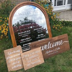 """Write It Out Loud on Instagram: """"A wedding party mirror is a great alternative to programs. A welcome sign with some fun reception signs, add details to a perfect wedding…"""" Garden Party Decorations, Engagement Party Decorations, Pink Party Foods, Chinese New Year Party, Wedding Mirror, 25th Birthday Parties, Wedding Reception Signs, Halloween Party Snacks, Garden Birthday"""