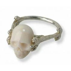 Skull coral engagement ring
