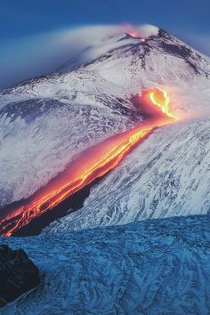 'Tongue of Fire' - lava streaming down the snowy sides of Mount Etna, Italy Volcan Eruption, Lava Flow, Wild Nature, Fire And Ice, Natural Phenomena, Tsunami, Science And Nature, Gaia, Amazing Nature