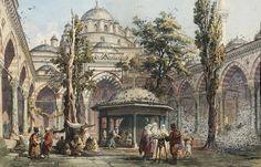 Amedeo Preziosi - Courtyard of sultan Beyazid II mosque 1876 Byzantine Architecture, Good Old Times, Turkish Art, Ottoman Empire, Fantasy Landscape, Istanbul Turkey, Old Master, Illustrations, Ottoman Turks